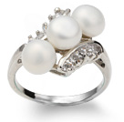 Wonderful Natural 6-7mm White Freshwater Pearl Ring With Charming Rhinestone