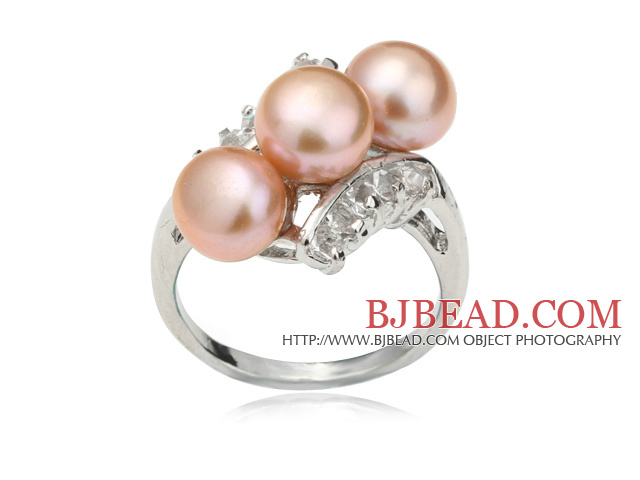 Wonderful Natural 6-7mm Pink Freshwater Pearl Ring With Charming Rhinestone