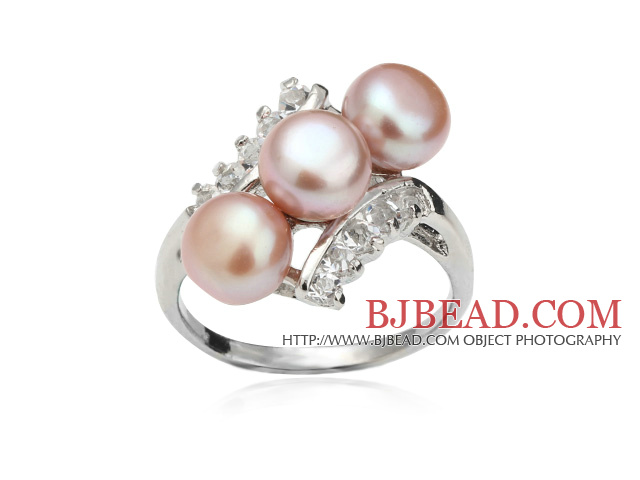 Wonderful Natural 6-7mm Purple Freshwater Pearl Ring With Charming Rhinestone