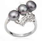 Wonderful Natural 6-7mm Black Freshwater Pearl Ring With Charming Rhinestone