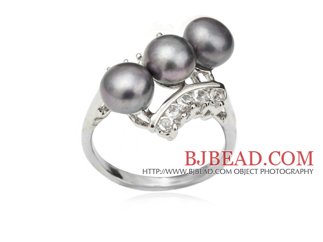 Wonderful Natural 6-7mm Black Freshwater Pearl Ring With Charming Rhinestone