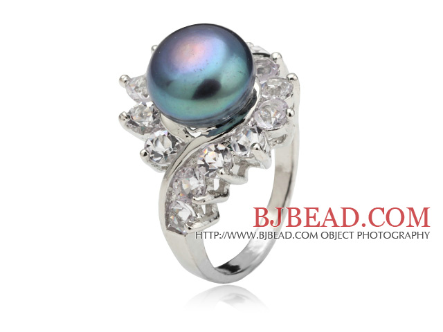 Classic Natural 8-9mm Black Freshwater Pearl Ring With Charming Rhinestone
