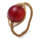 Smukke 12mm Round Red Agate Ball Layer Kobber Wired Hæklet Ring
