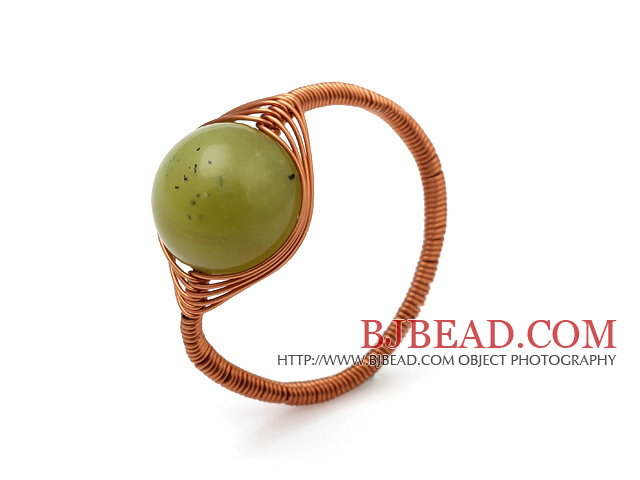 Beautiful 12mm Round Green Olive Jade Ball Layer Copper Wired Crochet Ring