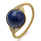 Fashion 12mm Round Lapis Stone Ball Layer Copper Wired Crochet Ring