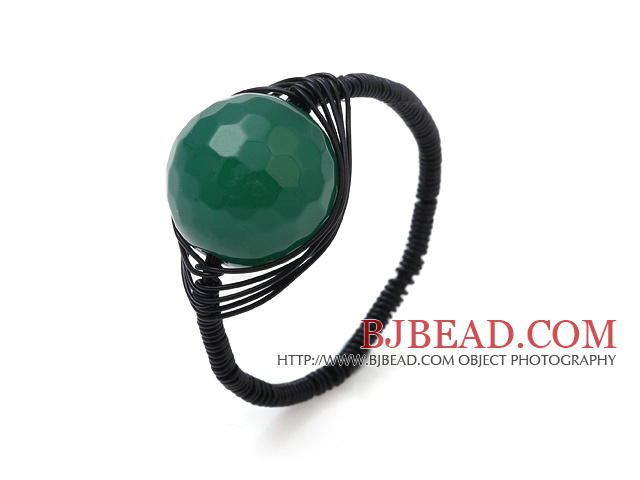 Nice 12mm Round Facted Green Agate Ball Layer Black Threaded Crochet Ring