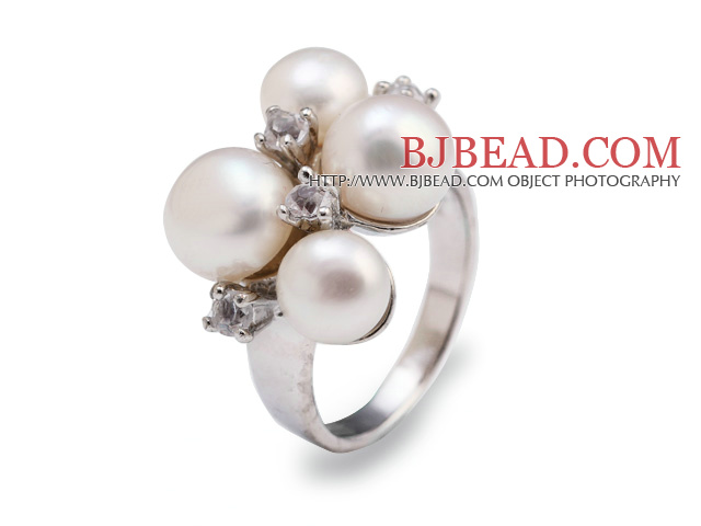 Fashion 7-9mm Natural White Freshwater Pearl Metal Ring With Charming Rhinestone