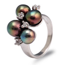 Fashion 7-9mm Natural Black Freshwater Pearl Metal Ring With Charming Rhinestone