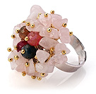 Lovely Handmade Cluster Style Rose Quartz Chips And Multi Agate Adjustable Metal Ring