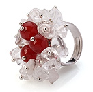 Bella Style Handmade Cluster Crystal White And Round Red Agate anello in metallo regolabile
