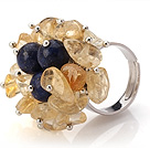 Lovely Handmade Cluster Style Chipped Citrine And Round Lapis Adjustable Metal Ring