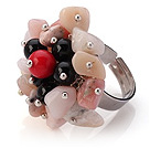 Lovely Handmade Cluster Style Multi Stone Chips And Round Agate Bloodstone Adjustable Metal Ring