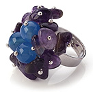 Lovely Handmade Cluster Style Multi Amethyst Chips And Round Faceted Blue Agate Adjustable Metal Ring