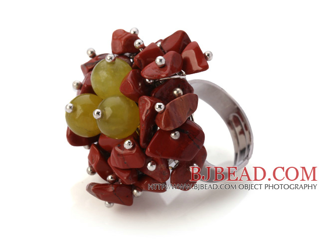 Lovely Handmade Cluster Style Multi Red Chips Stone And Round Yellow Candy Jade Adjustable Metal Ring