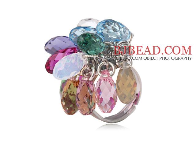 Beautiful Multi Color Drop Shape Austrian Crystal Adjustable Ring