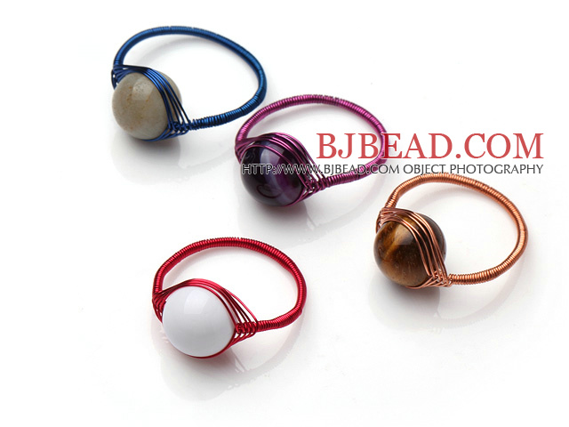 4 Pcs Amazone Stone Tiger Eye Stone Agate Seashell Beads Hand Knitted Rings