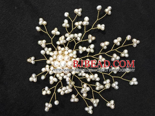 Graceful Women Natural White Freshwater Pearl Starry Sky Brooch