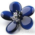 Dark Blue Color Cats Eye and Clear and Black Crystal Flower Brooch