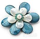 White Freshwater Pearl and Green Crystal and Peacock Blue Shell Flower Brooch under $ 40