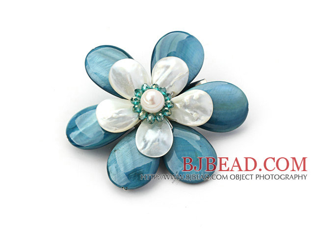 White Freshwater Pearl and Green Crystal and Peacock Blue Shell Flower Brooch