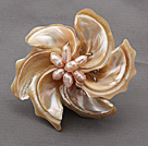 Natural Color Trochus Shell and Pink Pearl Flower Brooch