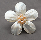 Elegant Style White Color Teardrop Shape Shell and Pink Pearl Flower Brooch