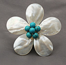 Elegant Style White Color Teardrop Shape Shell and Green Turquoise Flower Brooch