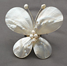 Elegant Style Teardrop Shape Hvid Lip Shell og White Pearl Butterfly Shape Broche