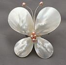 Elegant Style Teardrop Shape White Lip Shell and Pink Pearl Butterfly Shape Brooch under $ 40