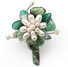 Elegant Style Assorted Green Agate and White Freshwater Pearl Flower Brooch