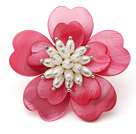Heart Shape Hot Pink Shell and White Freshwater Pearl Flower Brooch under $ 40