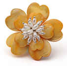 Heart Shape Yellow Shell and White Freshwater Pearl Flower Brooch