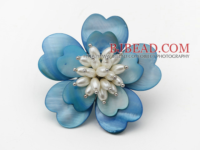 Heart Shape Blue Shell and White Freshwater Pearl Flower Brooch