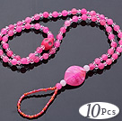 Beautiful 10 Pcs Pink Series Round Acrylic And Skull Turquoise And White Crystal Anklet