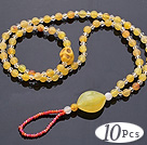 Beautiful 10 Pcs Golden Yellow Series Round Acrylic And Skull Turquoise And White Crystal Anklet