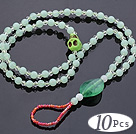 Beautiful 10 Pcs Green Series Round Acrylic And Skull Turquoise And White Crystal Anklet