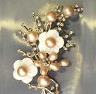 Noble Elegant Natural Pink Freshwater Pearl Flower Party Brooch