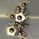 Noble Elegant Natural Black Freshwater Pearl Flower Party Brooch