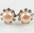 Classic Design Natural Pink Freshwater Pearl Studs with Rhinestone under $ 40