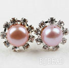 Classic Design Natural Purple Freshwater Pearl Studs with Rhinestone under $ 40