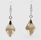 18mm Rhombus Shape Golden Champagne Color Austrian Crystal Earrings under $ 40