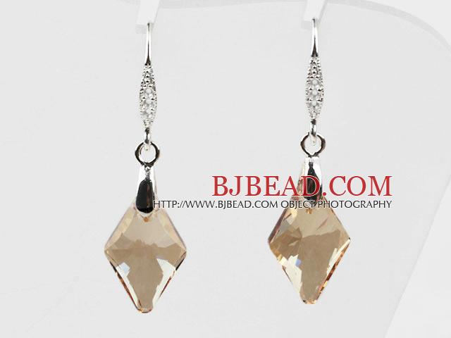 18mm Rhombus Shape Golden Champagne Color Austrian Crystal Earrings