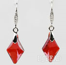 18mm Rhombus Shape Red Austrian Crystal Earrings under $ 40
