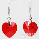 18mm Heart Shape Red Austrian Crystal Earrings