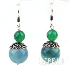 Classic Design Rainbow Fluorite and Green Agate Sterling Silver Earrings