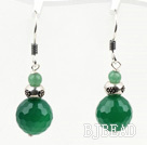 Classic Design Green Agate Dangle 925 Sterling Silver Earrings