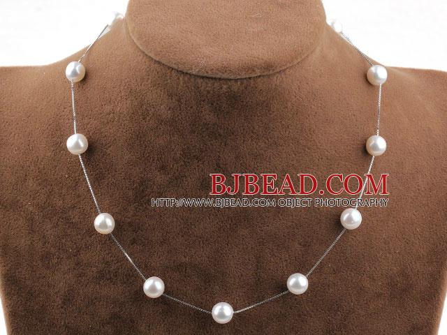 bf945a3b2c3d De agua dulce AA Perla Tin Cup Collar con cadena de plata esterlina 925 oro  blanco Revestimiento