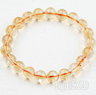 Natural 9mm Round Citrine Beaded Elastic Bangle Bracelet
