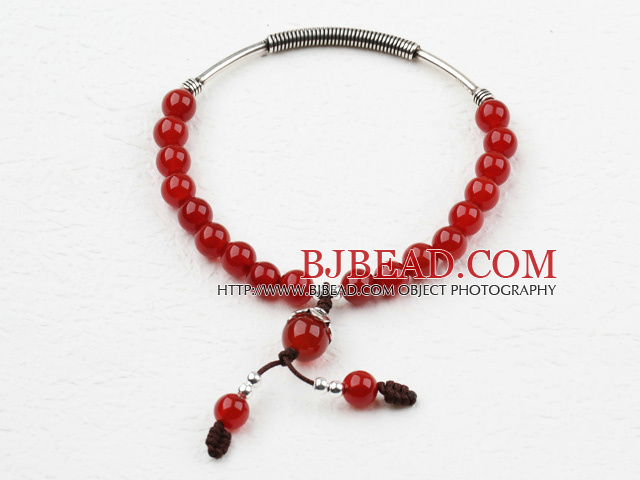 Classic Design Red Carnelian Elastic Bangle Bracelet with Sterling Silver Accessories