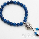 Classic Design 8mm Round Blue Agate Beaded Elastic Bangle Bracelet with Sterling Silver Snail Accessories